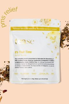 This comforting herbal tea blend is formulated to help ease the discomforts of PMS including cramps, bloating, headaches & indigestion in addition to stabilizing your mood. Caffeine Free. Tea Blends, Pms, Herbal Tea, Caffeine, Peppermint, Herbalism, Positivity, Mood, How To Make