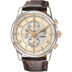 ff8da19c7d8 Citizen Men s Eco-Drive Sport Chronograph Brown Strap Watch £163.00 Relógios  De Senhor