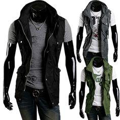 Sale 27% (24.99$) - Mens Slim Fit Drawstring Waist Coat Double Collar Waistcoat Jacket