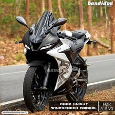 Dark Knight Wind Screen Fairing For Yamaha Black Bike Bmw, Yamaha Motorcycles, Motorcycle Bike, R1 Bike, Concept Motorcycles, Custom Motorcycles, Custom Bikes, R15 Yamaha, Yamaha R25