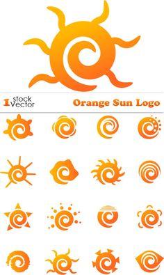 Orange Sun Logo Vector