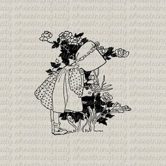 Vintage Girl In Garden With Roses Illustration Printable Image Fabric Transfer Clip Art Pillows Tags Totes Tea Towels