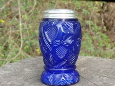 Vintage Strawberry Pattern Cobalt Blue Glass Shaker, Larger Size, Makes a Nice Vase or Sugar Caster