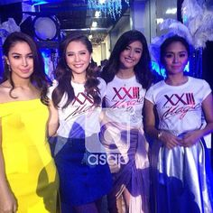 These are the ASAP It Girls: Julia Barretto, Janella Salvador, Liza Soberano, and Kathryn Bernardo, posing for the camera and smiling before their hosting stint during Star Magic Day on ASAP 20 at the ABS-CBN Studio 10 last July 27, 2015. #ASAPItGirls #JuliaBarretto #JanellaSalvador #LizaSoberano #KathrynBernardo