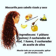 Mask for curly and dry hair - Natural Health & Beauty .- Mascarilla para cabello rizado y seco – Salud & Belleza Natural Mask for curly and dry hair – Health & Natural Beauty - Curly Hair Tips, Curly Hair Care, Natural Hair Care, Curly Hair Styles, Natural Hair Styles, Natural Gel Nails, Nails Short, Cabello Hair, Tips Belleza