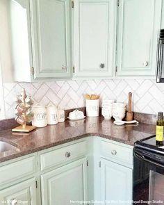 Green Kitchen Cabinets, Painting Kitchen Cabinets, How To Redo Kitchen Cabinets, Brick Floor Kitchen, Small Kitchen Redo, Mint Kitchen, Paint For Kitchen Walls, Brown Cabinets, Basement Kitchen