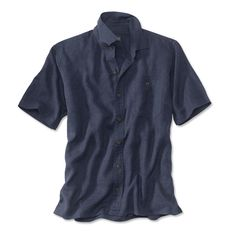 Lightweight and breathable, our hemp/Tencel® blend is a customer favorite. Now there are more reasons to love it. A straight hem and side vents let you wear this men's short-sleeved shirt untucked over a pair of shorts or our drawstring pants. The cool-wearing fabric performs beautifully on warm, humid days, making this men's lightweight short-sleeve shirt a perfect complement to summertime weather. Hidden-button-down collar. Hemp/Tencel. Washable. Imported. <br />Sizes M(38-40), L(42-4...