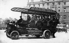 The first Big Bus tour? Passengers on board one of Great Western Railway's sightseeing motor buses, which took tourists round London from Paddington Station (1907). Fascinating early photographs of London