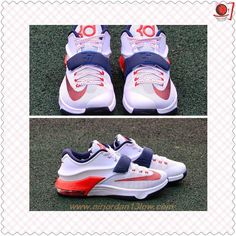 """Buy Nike KD VII USA """"Independence Day"""" 653996-146 White/Obsidian University Air Max Sneakers, Adidas Sneakers, Cheap Shoes Online, Good And Cheap, Cheap Fashion, Shoe Sale, Independence Day, Basketball Shoes, Nike Air Max"""