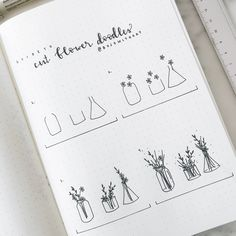 this post is a long time coming: how to draw cut flower doodles // 1. draw the containers without the tops (not drawing the tops allows you to make it look like flowers are hanging over the edge). 2. draw flowers above and around the jar. 3. add stems going into the jar, add leafy plants. 4. bulk out the drawing, add details like additional stems and leaves. also add details! and don't forget to add details to the jars as well to make them more realistic and three dimensional. PROTIP: use…