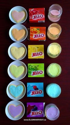 "Rainbow Heart Cookies with Jell-O Flavoured Icing  ""Did you know you can colour AND flavour your cookie icing with Jell-O crystals? It's a quick, economical, and fun way to dress up your cookies if you don't have a cupboard full of food-dyes or extracts. What started out as a substitution (I didn't have any food colouring in the kitchen) became a rainbow of possibilities."""