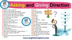Asking and Giving Directions in English - English Study Here English Grammar Notes, English Words, English Vocabulary, English Language, English Time, English Study, English Lessons, Learn English, Ways To Say Said