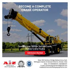 Enroll now to become a complete crane operator  A2Z Institute of Heavy Equipments & Driving School  ☎️8590085591 📞9605885591 📧mail@a2zinstituteofheavyequipments.com #a2zinstituteofheavyequipment #craneoperator #heavymachinery Harbor Bridge, Training School, Heavy Machinery, Heavy Equipment, Crane, How To Become