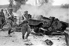 The Battle of Tali-Ihantala (June 25 to July 9, 1944) was part of the Finnish-Soviet Continuation War (1941–1944), which occurred during World War II. The battle was fought between Finnish forces—using war materiel provided by Germany—and Soviet forces. To date, it is the largest battle in the history of the Nordic countries. Finnish soldiers marching next to a destroyed Soviet T-34 tank