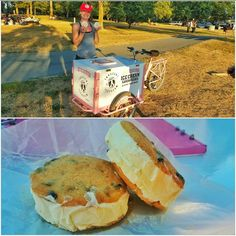 New food cart! Gluten free high protein ice cream sandwich cart! Vanilla bean ice cream with chocolate chip cookies! @innocenticecream at #kitsilano #beach