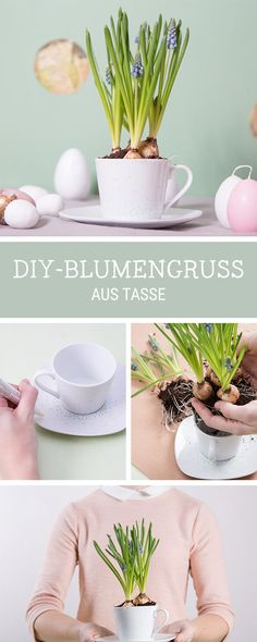 Upcycling-Idee für alte Tassen: Verwandle eine Tasse in einen Blumentopf / upcycling idea for old tea pots: how to turn them into flower pots via DaWanda.com