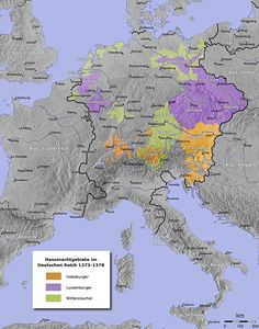 The Wittelsbach dominions within the Holy Roman Empire (Bavaria, The Netherlands and Palatinate) AD 1373 are shown as Wittelsbach, among the houses of Luxembourg which acquired Brandenburg that year and Habsburg which had acquired Tyrol in 1369 European History, World History, Family History, Aragon, Luis Iv, History Of Germany, Holy Roman Empire, Aarhus, Historical Maps