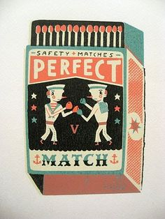 A match box design with two sailors battling it out to be .. the Perfect MATCH