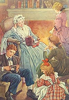 $45 Vintage CLARA C M BURD Print Victorian Grandmother Children (Image1)