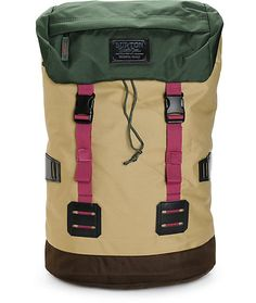 Get ready for your next trip with a stylish khaki and forest green two tone rucksack design with a top-loading main compartment and padded ergonomic shoulder straps for comfort.