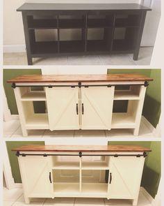 Before after ikea kallax diy barn doors diy hardware for Ikea barn door hardware