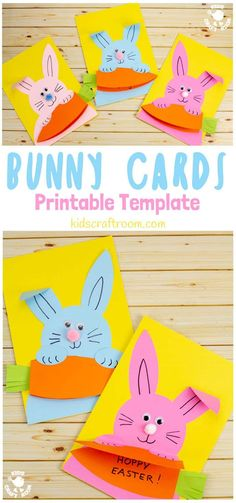 Make cute Carrot Nibbling Easter Bunny Cards easily with the printable template. This hungry bunny craft is adorable! Such a fun Easter craft for kids. cards for kids Carrot Nibbling Easter Bunny Cards Cute Easter Bunny, Easter Art, Hoppy Easter, Easter Crafts For Kids, Easter Decor, Summer Crafts, Easter Eggs, Fun Craft, Craft Ideas