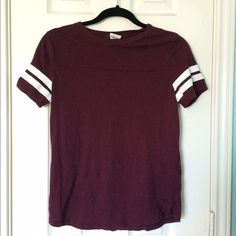 Victoria Secret / Sporty Tee Comfy material. Stripes on sleeves. Barely worn. Burgundy PINK Victoria's Secret Tops Tees - Short Sleeve