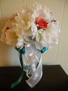 white peony and coral rose bouquet