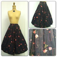 1950s Novelty Print Skirt 50s Roses by CreatedAndCollected on Etsy, $54.00