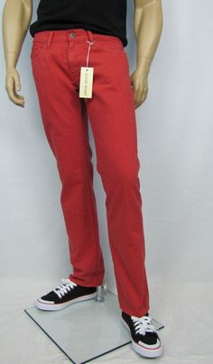 Guess Jeans Lincoln Faded Red Slim Straight Men's Jeans Sizes 31, 32, 34, 36 NEW #Guess #SlimStraightLeg 49.99