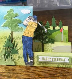 Creative Birthday Cards, Birthday Cards For Boys, Masculine Birthday Cards, Masculine Cards, Creative Cards, Fancy Fold Cards, Folded Cards, Golf Cards, Men's Cards