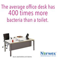 True or False: A toilet is cleaner than the average office desk. TRUE: The average office desk is home to 20,000 germs per square inch. It harbors 400 times more germs than the toilet, which gets cleaned regularly. Cleaning your office desk can be as simple wiping it down with an Enviro Cloth.