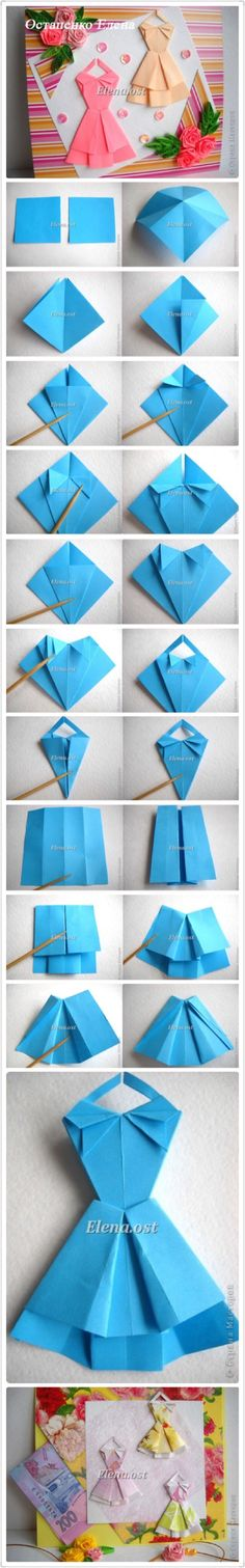 27 Super Ideas For Origami Dress Card Diy Origami Paper Folding, Origami And Quilling, Origami And Kirigami, Origami Art, Easy Origami, Hobbies And Crafts, Diy And Crafts, Diy Paper, Paper Crafts