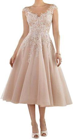368b8dfb8c Amazon.com  Women s V Neck Wedding Dress Tea Length Tulle Bridal Gown  Applique Blush