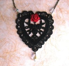 Black lace 'heart' Necklace set with satin red rose and Swarovski - weddings £12.00
