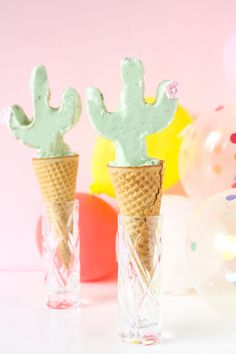Dreaming of cactus on a rainy spring day. These cactus ice cream cones are a perfect way to welcome in summer. It is coming so soon! I love the season of warm weather, sweet melty Diy Piñata, Cactus Cupcakes, Cactus Cake, Food Styling, Colorful Desserts, Diy Party, Party Ideas, Girl Birthday Themes, Birthday Background