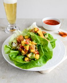 Beer Battered Shrimp Lettuce Wraps w/ Mango Avocado Salsa
