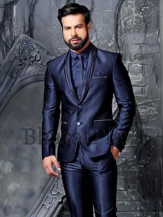 Admirable navy blue color shawl lapel #Blazer created on imported fabric with two buttons and pocket flap. Item Code: TSP2729 http://www.bharatplaza.com/new-arrivals/mens-suits.html