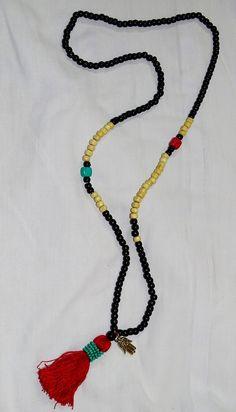 FREE SHIPPING  Boho twin coloured tassel & wooden bead