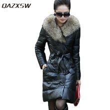 QAZXSW Women Winter PU Jacket Thicken Leather Jackets Slim Warm PU Coats Fur Collar Double Breasted Women Suede Jackets HB119 //FREE Shipping Worldwide //