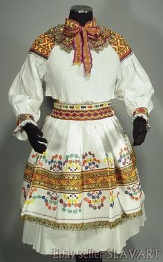 Open skirt and apron: Black cotton? with profuse embroidery and bobbin-lace trim, waist ties. The skirt with lace along the bottom covers the back and is open in front, while the apron with lace on three sides covers the front opening. Folk Fashion, Tribal Fashion, Fashion Art, Hungarian Embroidery, Wool Embroidery, Learn Embroidery, Embroidery Patterns, Tribal Mode, Tribal Style