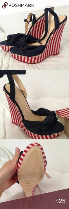 New Sz 7 Red White Blue Wedges Get ready for the 4th! Cones with  dustbag. Shoe Dazzle Shoes Wedges