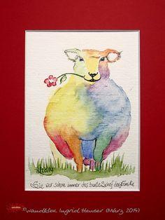 """No. 018 der wandklex-Unikatserie """"Ich war schon immer das Bunte Schaf der Familie"""" - nummerierte Einzelstücke! Ihr eigenes Schaf können Sie als Ihr Designerstück von wandklex® Ingrid Heuser, Ratzeburg, Germany bestellen:  im kleinen Klexshop bei DaWanda auf http://de.dawanda.com/shop/wandklex ©  Kunstatelier wandklex Ingrid Heuser, D-Ratzeburg Besuchen Sie mich auch auf facebook: https://www.facebook.com/wandklex"""