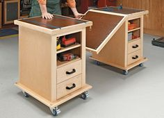 This handy pair of roll-around carts link together to form a large assembly table for your shop.