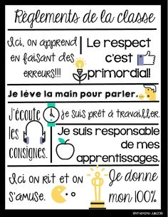 Affiche des règlements by Mme Marie Julie Classroom Rules, Classroom Posters, School Classroom, French Classroom Decor, School Organisation, Classroom Organization, Classroom Management, French Teaching Resources, Teacher Resources