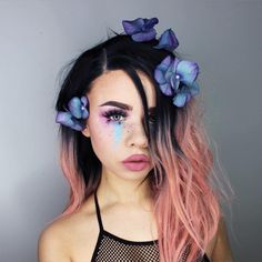 Blue festival makeup flower pink hair