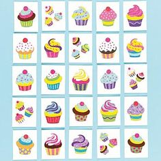Yummy! An assortment of sweet and sparkly cupcake temporary tattoos that are easily applied with water. 24 assorted designs.