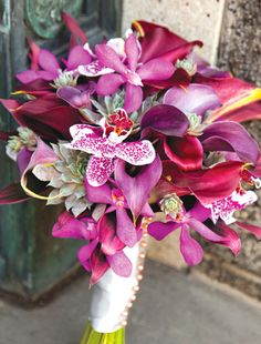 Wow - what an amazing purple tropical wedding bouquet from Phillip's Flowers!