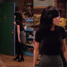 Courtney Cox as Monica Geller on Friends, Episode 1.17 (The One with Two Parts). Wearing: Black Tee | Grey Striped Skirt with Button Detailing | Black Tights | Black Lace-ups.