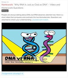 """""""Why RNA Is Just as Cool as DNA"""" - Short Video and Homework Questions. Students can answer the questions online. 